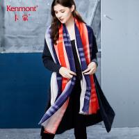 卡蒙格子围巾女冬季保暖羊毛披肩韩版围巾学生百搭原宿长款大围巾 1848