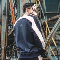 日系春装青少年复古袖子拼色印花圆领长袖上衣男撞色套头卫衣男潮