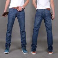 韩观男士修身直筒牛仔长裤子青春流行韩版牛仔裤 深蓝