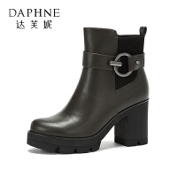 Daphne/达芙妮 冬季时尚气质短靴加绒圆头低筒高跟靴子女
