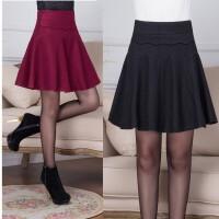 新品中年毛呢短裙子秋冬半身蓬蓬裙显瘦高腰裙A字裙大码女百褶裙