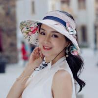 户外运动女士帽子时尚太阳帽遮脸防晒韩版百搭遮阳薄款妈妈可折叠空顶凉帽