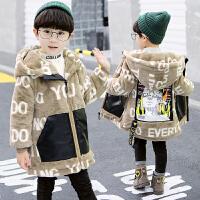 男童冬装毛衣外套中大儿童装连帽上衣洋气潮