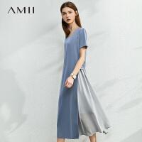 Amii法式气质收腰显瘦连衣裙2021夏新款缎面雪纺裙子女蓝色桔梗裙