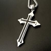 十字架男士项链钛钢朋克吊坠个性潮人情侣配饰品首饰嘻哈银挂饰