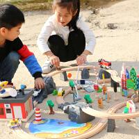 儿童玩具电动轨道车男孩积木2-3-6周岁过山车小火车套装轨道