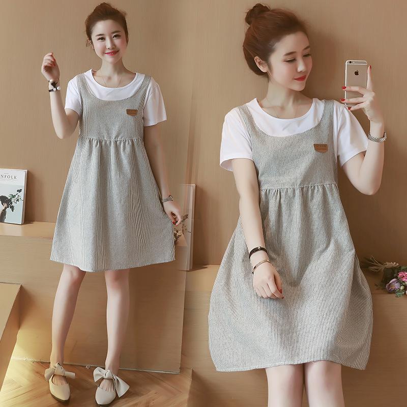 黛熊 孕妇装时尚假两件孕妇连衣裙夏季新品中长款加大孕妇裙B-6858