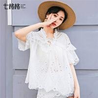 七格格蕾丝娃娃衫女2019新款夏韩版气质洋气遮肚子雪纺衫短袖上衣