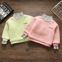 女童加绒打底衫新款女宝宝3岁婴儿童洋气秋冬套头毛衣