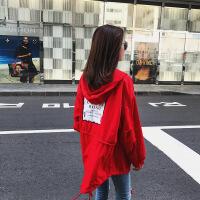 潮流街拍 时尚港风后背贴布前短后长工装风衣女秋季小外套潮 红色