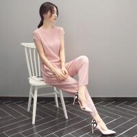 套装女夏2018新款时尚韩版名媛气质小香风女装夏装潮雪纺裤两件套