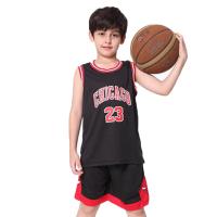 儿童篮球服套装男童夏季小学生定制公牛球衣23号宝宝比赛球服背心 黑色