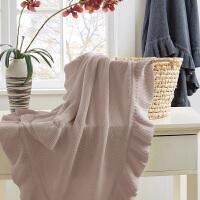 荷叶边针织毯盖毯子 办公室午睡毯 春秋休闲毯沙发毯 130cmx160cm