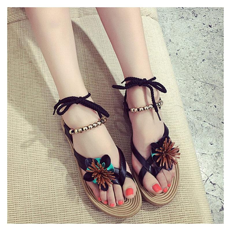 ELEISE美国艾蕾莎新品060-A-00008韩版超纤皮平跟花朵女士凉鞋