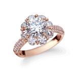 先恩尼钻石 红18K 玫瑰金1.808克拉婚戒 钻石戒指 结婚钻戒 订婚戒指 繁花似锦HFA03