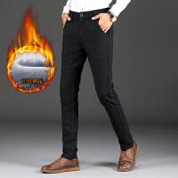 格子加绒加厚青年休闲裤男士修身直筒长裤子冬天保暖黑灰色男装裤