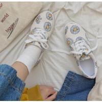 小雏菊学生可爱帆布鞋女新款百搭小白鞋学生韩版单鞋子女