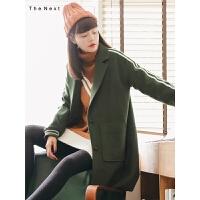 绿色中长款呢子外套秋冬装女2019新款宽松休闲学院风森系毛呢大衣