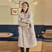 [直降]唐狮冬装新款仿毛呢外套女大衣韩版双排扣百搭赫本风中长款