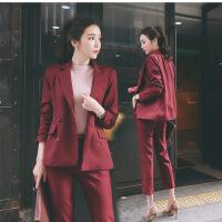 韩版名媛小香风修身显瘦小西装外套女端庄大气双排扣女士西服套装