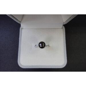 s925银镶钻大溪地黑珍珠戒指2 活口