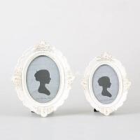 欧式相框摆台婚纱照高档创意奢华摆件6寸7寸10寸现代简约椭圆形 白色