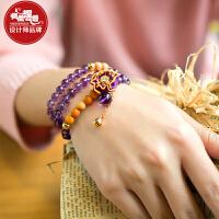 凤凰涅磐手链女铃铛时尚天然紫水晶首饰复古中国风多层血龙木饰品