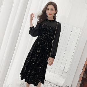 AGECENTRE 2018春季新款时尚镂空拼接星星中长连衣裙