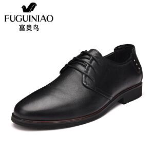 富贵鸟时尚新潮英伦男士系带商务正装皮鞋尖头正装鞋男鞋