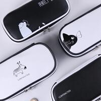 韩国超大容量创意铅笔袋韩版 简约男女孩初中高中学生多功能文具盒