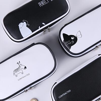 韩国超大容量创意铅笔袋韩版 简约男女孩初中高中学生多功能文具盒 简约黑白-笔袋-多功能款-独家出售
