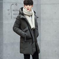 冬季新款男士中长款羽绒服90%白鸭绒连帽外套青年修身羽绒衣 绿色 M