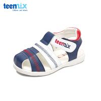 天美意童鞋男童凉鞋2018夏季新款小童半包头凉鞋儿童平跟沙滩鞋子DX7169