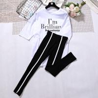 B851字母t恤+休闲裤两件套韩版春夏2018洋气时髦休闲时尚套装女潮