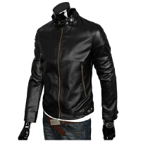 时尚潮流精品机车皮衣 韩版显示立领水洗皮衣男式外套加棉 W02