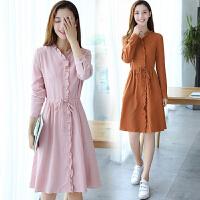 中长款长袖连衣裙女2017秋装新款女装韩版修身显瘦衬衫领连衣裙子