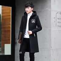 男士毛呢大衣秋冬季韩版修身潮流呢子外套青年中长款休闲连帽上衣