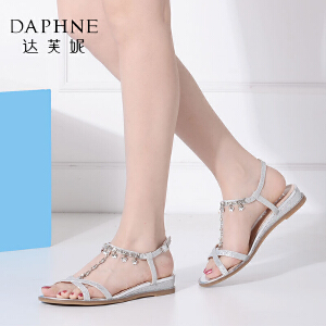 Daphne/达芙妮夏季水钻简约平底女凉鞋