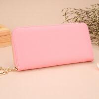 新款女式钱包韩版拉链长款女士票夹十字纹牛皮手拿包钱夹rh 粉色