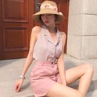 2018夏季新款复古无袖格子衬衫修身西装领气质打底衫衬衣上衣女装