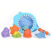 宝宝捞鱼洗澡玩具钓鱼套装儿童戏水玩具婴幼儿漂浮软胶喷水捏捏叫