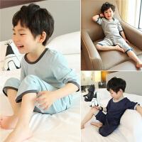 儿童睡衣夏男童家居服套装纯棉薄款夏季中大童空调服短袖男孩夏天