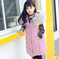 2017冬季新款儿童女孩背心休闲厚中长款大毛领女童棉马甲中大童 粉红 色