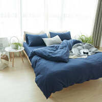 天竺针织棉四件套 简约棉双人色床上1.5m1.8m被套床单床笠