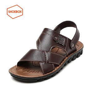 达芙妮旗下shoebox鞋柜夏季新款两穿凉拖鞋防滑男鞋沙滩鞋男凉鞋
