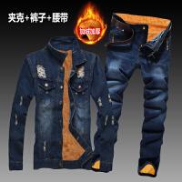 秋冬季男士牛仔外套新款韩版潮流修身加绒加厚夹克牛仔长裤一套装 加绒 破洞夹克+五扣裤