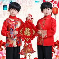 儿童民国风唐装元旦春节拜年服中式主持礼服男童绣花红色冬季男童