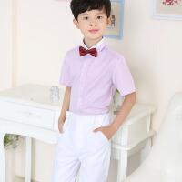 儿童衬衣礼服孩钢琴表演出服 男童短袖衬衫白色西装长裤套装夏季