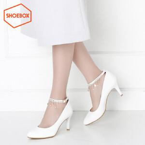达芙妮旗下shoebox鞋柜春季新款潮酒杯跟尖头高跟鞋浅口女鞋