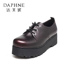 达芙妮集团鞋柜秋款英伦风复古女绑带防水台单鞋-1